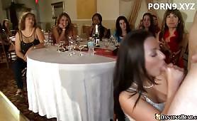 Sucking stripper in party
