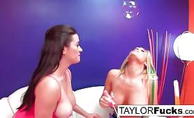 Sexy girls play with bubbles