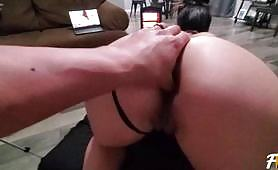 Babe in Sexy Black Bondage Gets DP and Anal Creampie